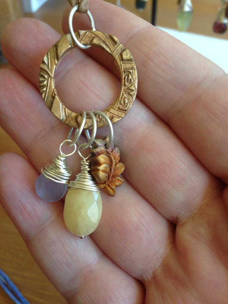 Bronze, Silver, and Stone Pendant
